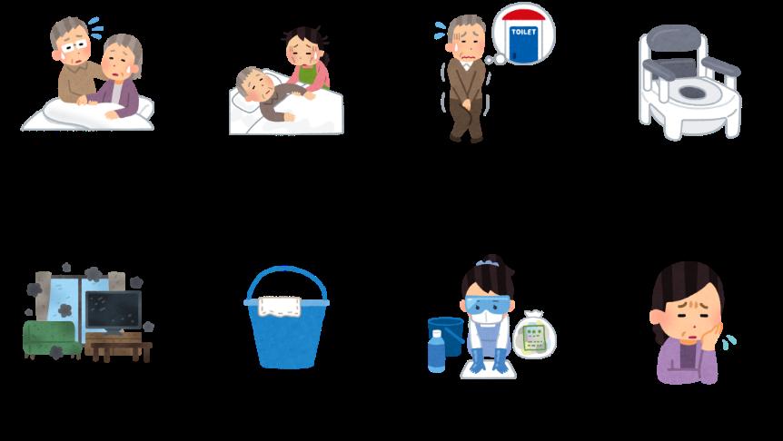 老老介護 在宅介護の増加など(介護者の負担) トイレまで間に合わない失禁や夜間頻尿等 ポータブルトイレの課題 部屋中に漂う臭い受けバケツのとれない臭い バケツ洗浄等の手間 感染リスクなど(排泄物からの) 夜間使用時に受けバケツから尿が溢れないか不安