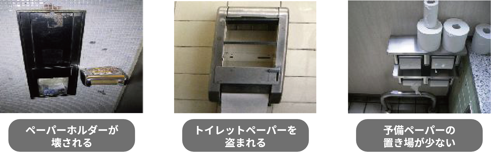 ペーパーホルダーが壊される トイレットペーパーを盗まれる 予備ペーパーの置き場が少ない